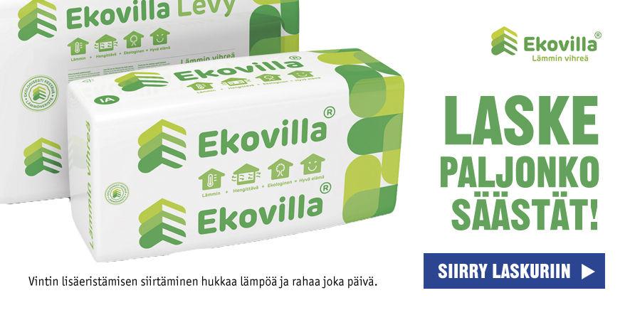 Laske Ekovillan laskurilla kuinka paljon säästät lisäeristämällä kotisi.