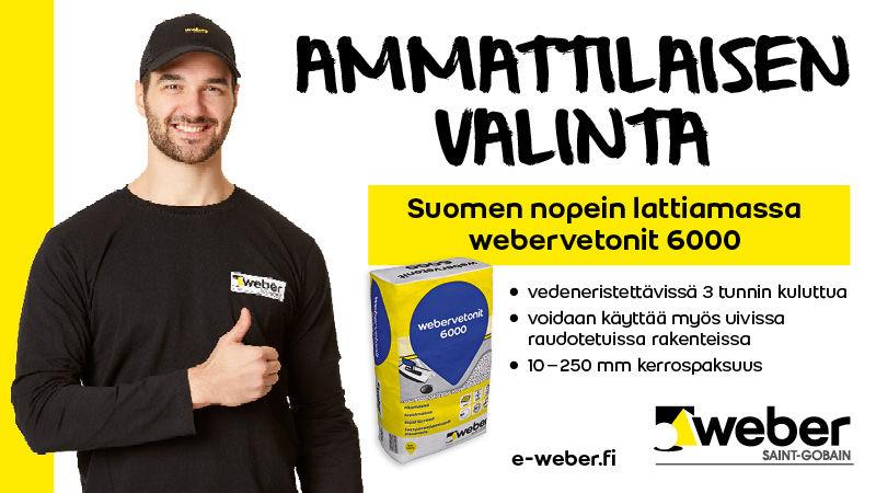 Ammattilaisen valinta! Suomen nopein lattiamassa, webervetonit 600.