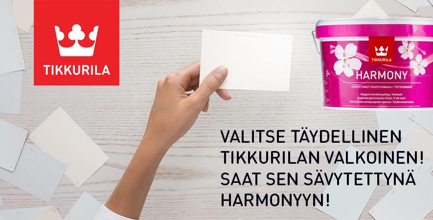 Valitse Rautanet -myymälässä täydellinen Tikkurilan valkoinen! Saat sen sävytettynä Harmonyyn.